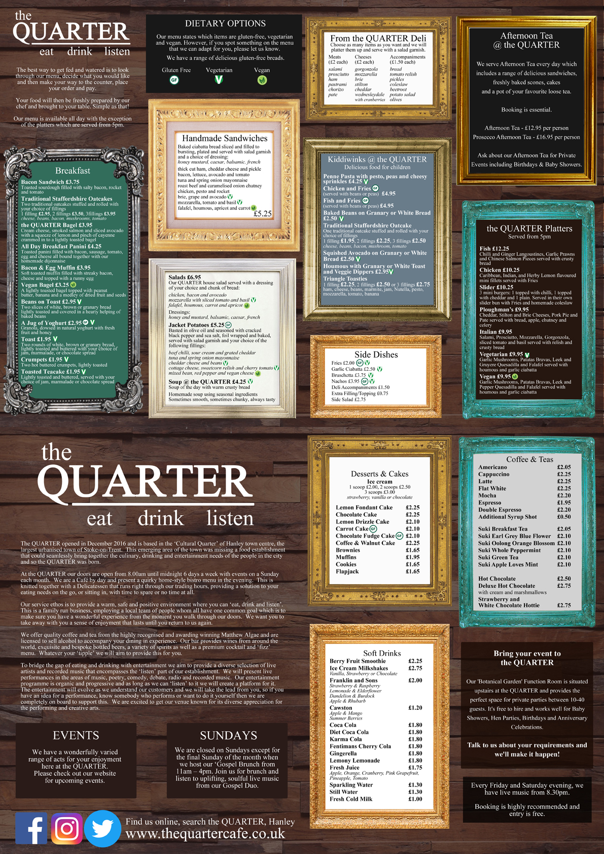 The Quarter Cafe, Stoke-on-Trent - Web Menu - May 2017